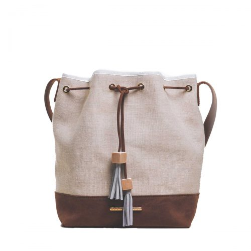 hagne buget bag-leather-linen-women-handmade