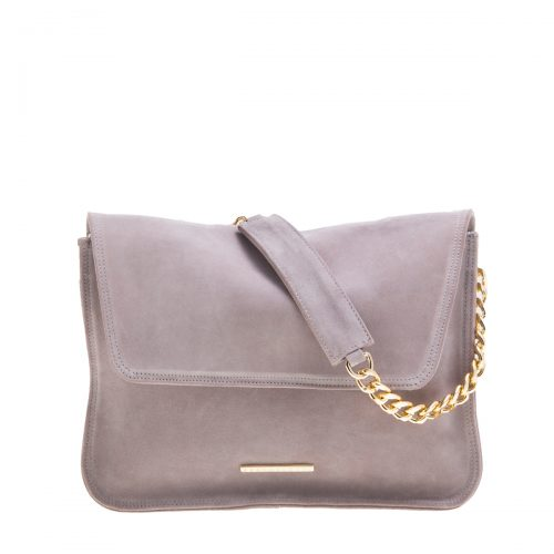 VICTORIA-WOMEN - BAG-HANDMADE GENUINE CALF SUEDE LEATHER COLOR: LILAC GREY INTERIOR ZIPPER POCKET