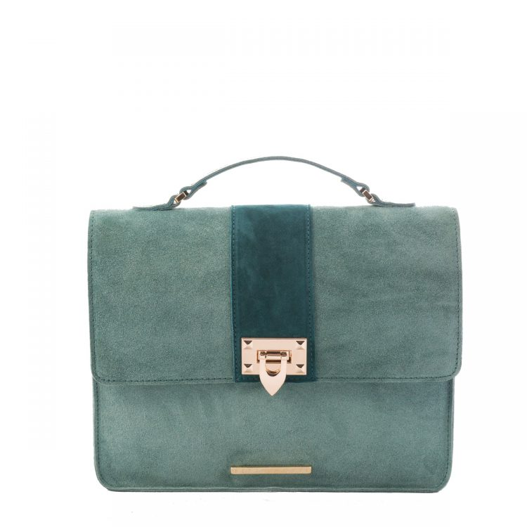 GREEN SUEDE SHOULDER BAG