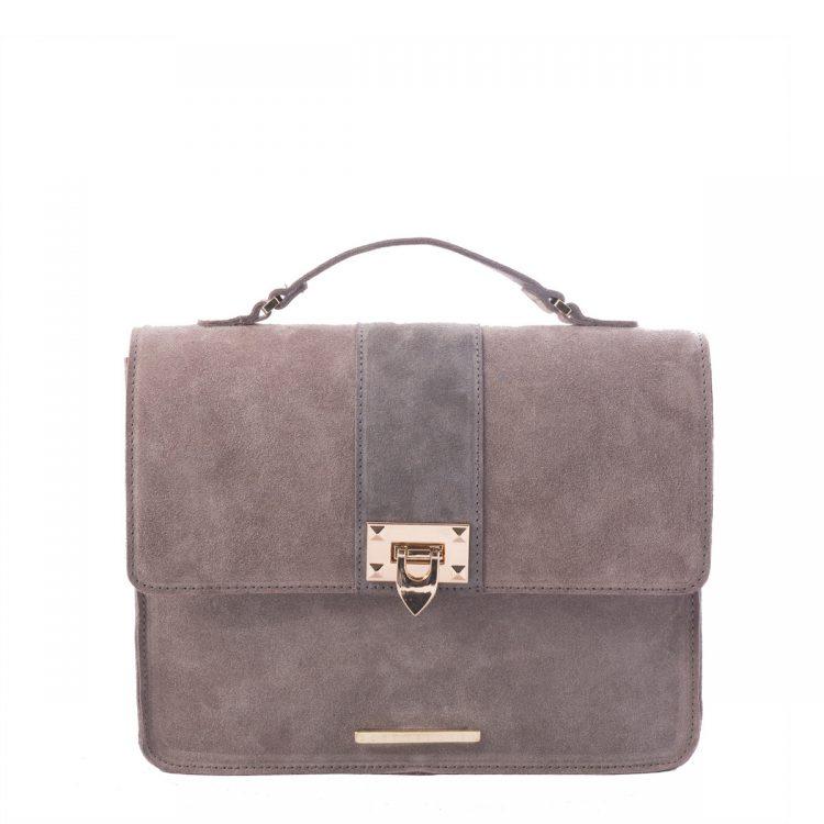 grey suede shoulder bag