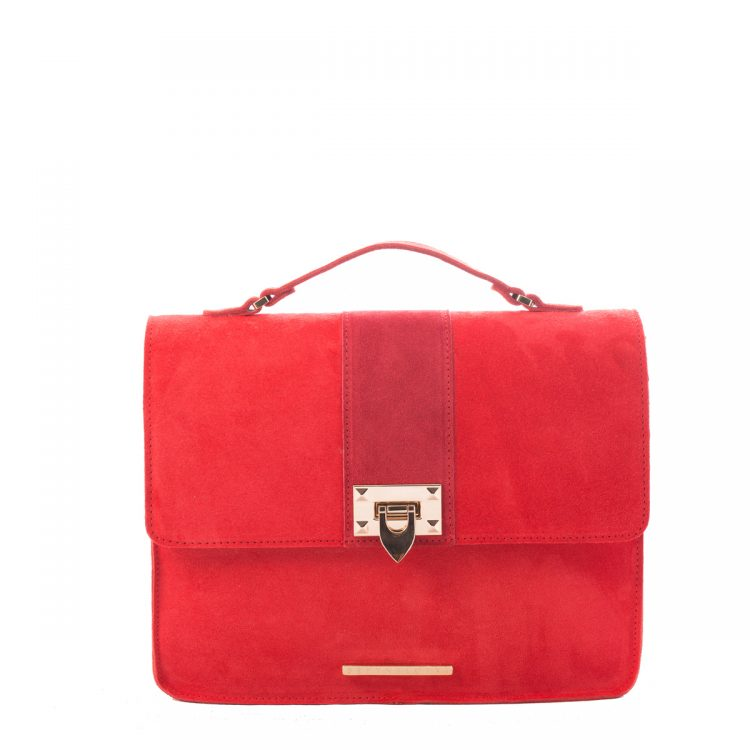 RED SUEDE SHOULDER BAG