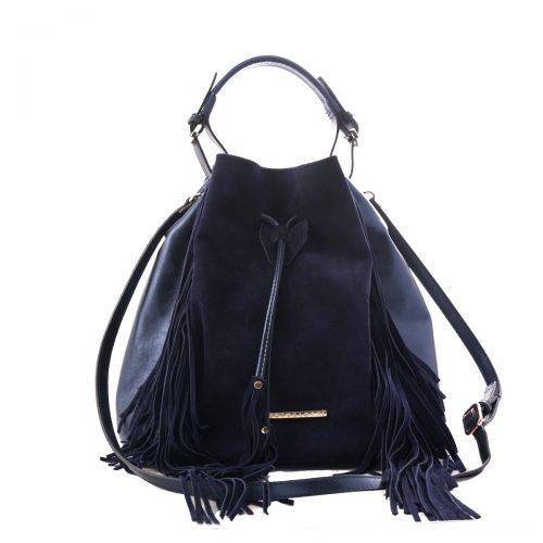 handmade blue leather bag women