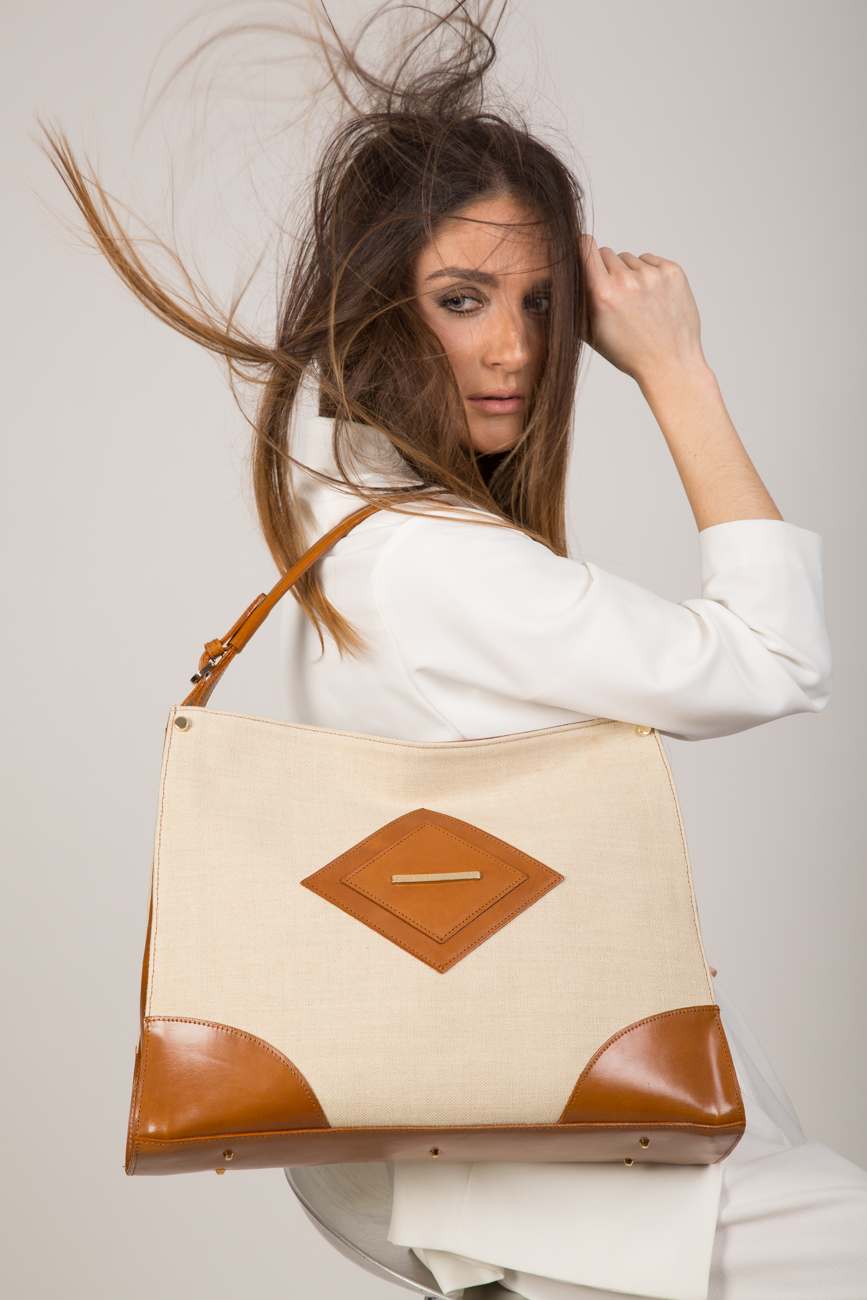 aurelia-women bag-hand bag-linen- tan leather-beige linen