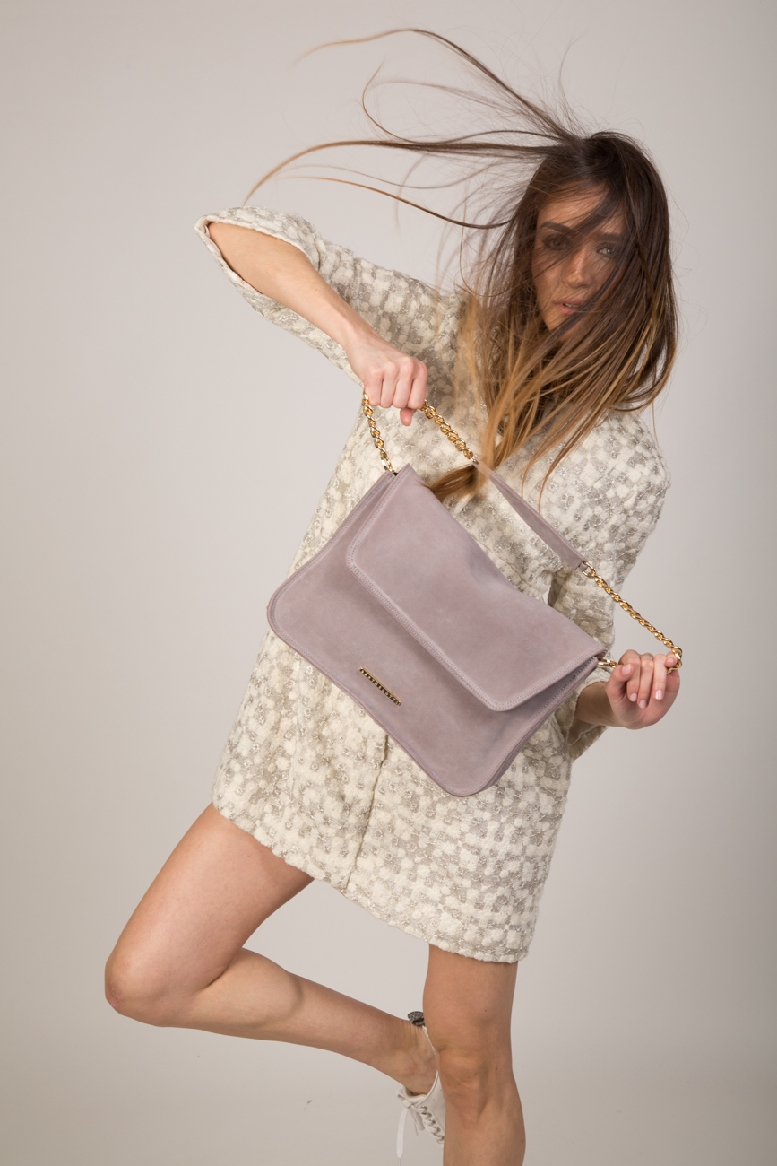 victoria-women-had bag-light grey leather-suede leather
