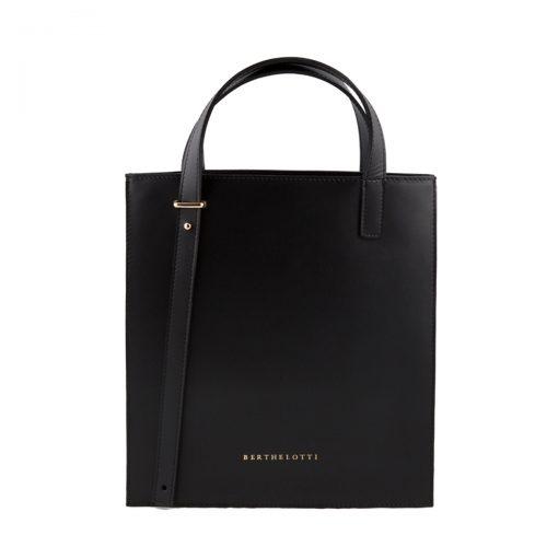 kierra tote leather bag-berthelotti-woman-black leather-1