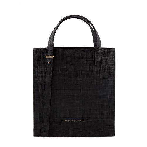 kierra tote leather bag-berthelotti-woman-black patern leather
