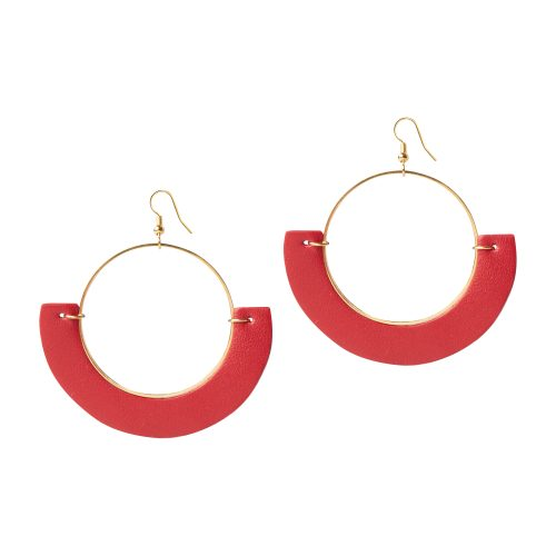 OLIVIA LEATHER RED EARRING BERTHELOTTI