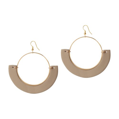 OLIVIA LEATHER OLIVE-BEIGE EARRING BERTHELOTTI