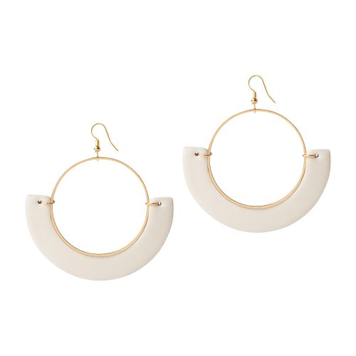 OLIVIA LEATHER OFF-WHITE EARRING BERTHELOTTI