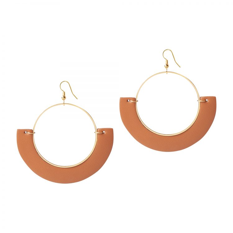 OLIVIA LEATHER TAN EARRING BERTHELOTTI
