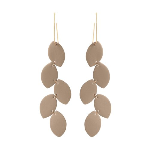 LEA LEATHER OLIVE-BEIGE EARRING BERTHELOTTI