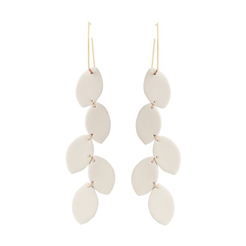LEA LEATHER OFF-WHITE EARRING BERTHELOTTI