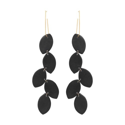 LEA LEATHER BLACK EARRING BERTHELOTTI
