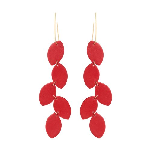 LEA LEATHER RED EARRING BERTHELOTTI