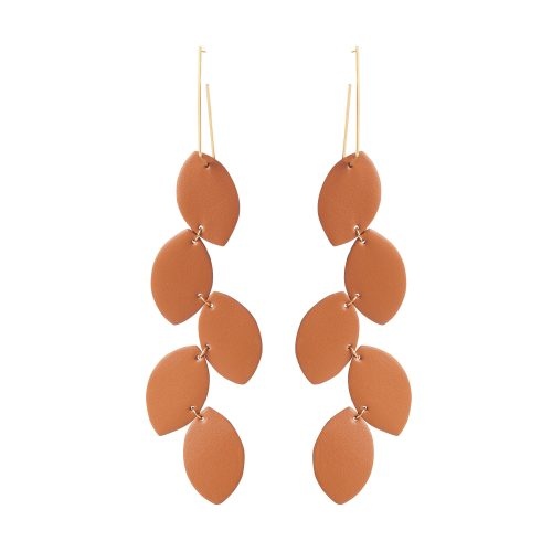 LEA LEATHER TAN EARRING BERTHELOTTI