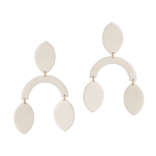 ROBIN LEATHER off-white EARRING BERTHELOTTI