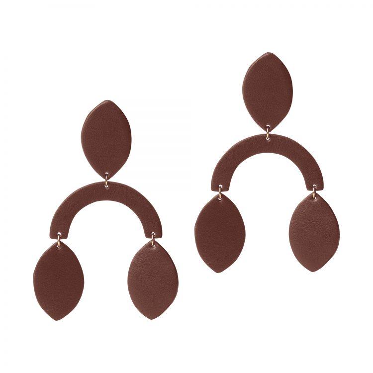 ROBIN LEATHER Rich chocolate EARRING BERTHELOTTI
