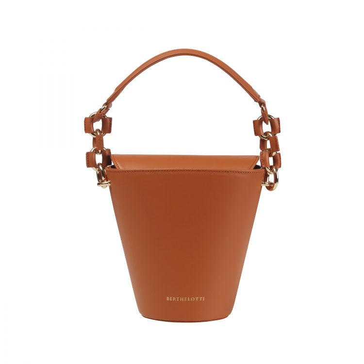 Berthelotti woman fashion tophandle Margot leather Tan bucket bag
