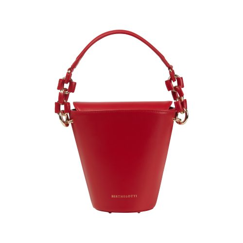 Berthelotti woman fashion tophandle Margot leather Red bucket bag