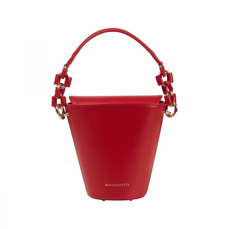 Berthelotti woman fashion tophandle Margot leather Red bucket bag