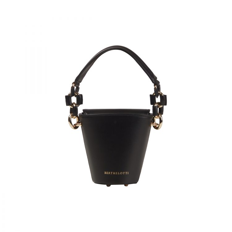 Berthelotti woman fashion tophandle Margot leather black bucket bag